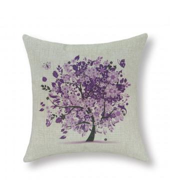 """Euphoria Cushion Covers Pillows Shell Cotton Linen Blend Butterflies Floral Trees Purple 18""""  X 18"""""""