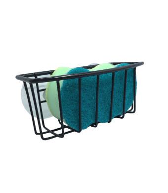 Durable Steel Construction Color Coated Large Suction Cups Kitchen Sink Sponge Storage Organizer Holder (Black)
