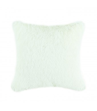 Euphoria CaliTime Cushion Covers Pillows Shell Super Soft Plush Faux Fur Bed Sofa Home Ivory Color 18 X 18 Inches