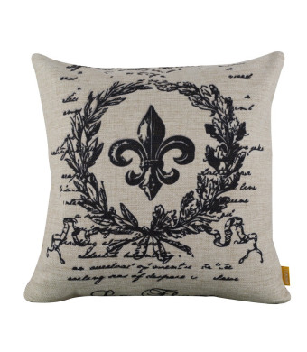 "LINKWELL 18"" x18""  Black Word Fleur De Lis Burlap Cushion Covers Pillow Case"