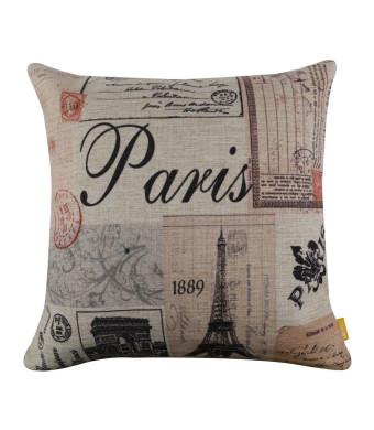 "LINKWELL 18"" x18""  Colorful Paris Eiffel Tower Burlap Cushion Covers Pillow Case"