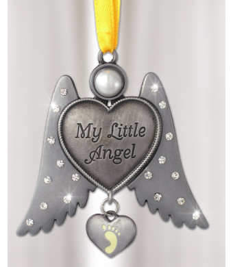 Jeweled Angel Hanging Ornament Baby Footprint Heart Shaped Charm - My Little Angel - Newborn Baby Gift - Pewter Metal 3 Inch