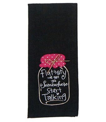 Kay Dee Designs Kitchen Embroidered Chambray Mason Jar Tea Towel (Flattery - Start Talking - Black)
