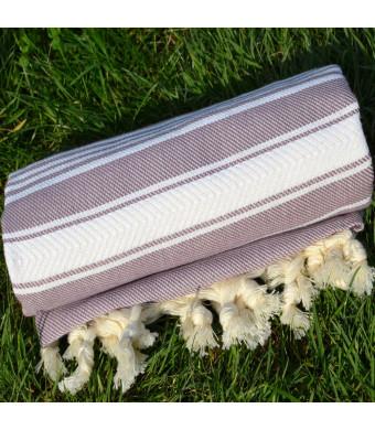 Old Lavender Turkish Towel Peshtemal - 100% Natural Dyed Cotton - for Beach Spa Bath Swimming Pool Hammam Sauna Yoga Pilates Fitness Gym Picnic Blank