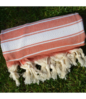 Mexican Red Turkish Towel Peshtemal - 100% Natural Dyed Cotton - for Beach Spa Bath Swimming Pool Hammam Sauna Yoga Pilates Fitness Gym Picnic Blanke