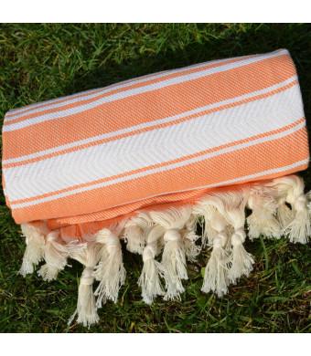 Mango Orange Turkish Towel Peshtemal - 100% Natural Dyed Cotton - for Beach Spa Bath Swimming Pool Hammam Sauna Yoga Pilates Fitness Gym Picnic Blank