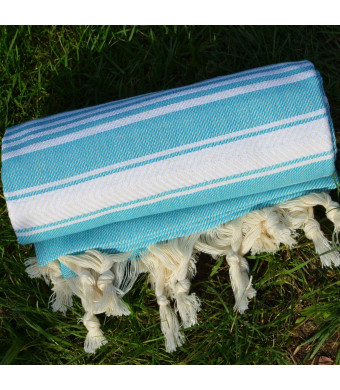 Turquoise Turkish Towel Peshtemal - 100% Natural Dyed Cotton - for Beach Spa Bath Swimming Pool Hammam Sauna Yoga Pilates Fitness Gym Picnic Blanket