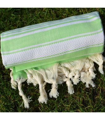 Green Turkish Towel Peshtemal - 100% Natural Dyed Cotton - for Beach Spa Bath Swimming Pool Hammam Sauna Yoga Pilates Fitness Gym Picnic Blanket (Dan