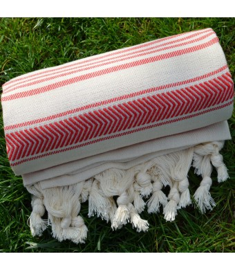 Natural and Mexican Red Turkish Towel Peshtemal - 100% Natural Dyed Cotton - for Beach Spa Bath Swimming Pool Hammam Sauna Yoga Pilates Fitness Gym P