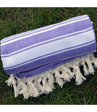 Purple Turkish Towel Peshtemal - 100% Natural Dyed Cotton - for Beach Spa Bath Swimming Pool Hammam Sauna Yoga Pilates Fitness Gym Picnic Blanket (Da
