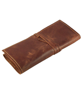Rustic Genuine Leather Pencil Roll - Pen and Pencil Case by Rustic Ridge Leather - Brown