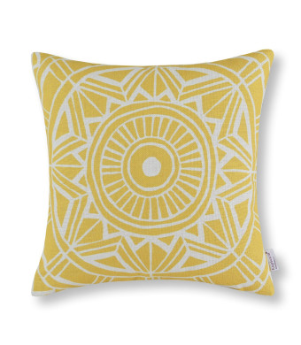 "Euphoria Home Decorative Cushion Covers Pillows Shell Cotton Linen Blend Compass Geometric Yellow Color 18""  X 18"""