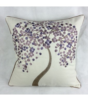 "Lily Cindy Cotton Linen Decorative Throw Pillow Cushion Covers Pillowcase Shell the Lavender Wish Tree Embroidery 18""  X 18"""