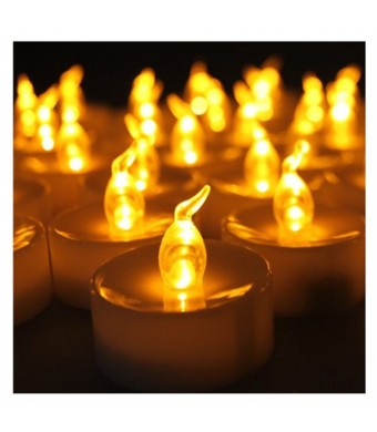 Youngerbaby 24pcs Amber Yellow Battery-powered Flameless Flickering Led Tea Light, Cr2032 Coin Battery Operated Candle, Electric Candles, Led Tealigh