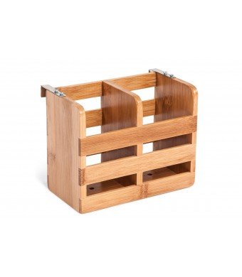 Bamboo Flatware Organizer and Holder with Metal Clips by Trademark Innovations