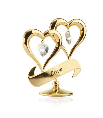 "24k Gold Plated Double Heart ""Love""  Ornament Made with Swarovski Elements Crystals By Charming Temptations"