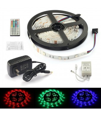 Rxment Led Strip Lights Complete Kit 5 Meters 5050 RGB 150Leds Full Kit with 44 Keys IR Remote +Control Box+2A Power Supply for Home Lighting and Kit
