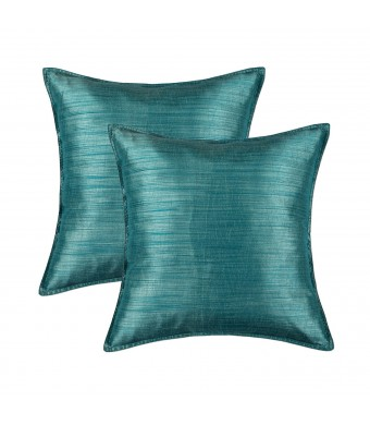 "SET OF 2 Euphoria Cushion Covers Pillows Shells Light Weight Dyed Stripes Teal Color 18""  X 18"""