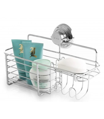 BINO SMARTSUCTION Chrome Shower Organizer, Combo Basket