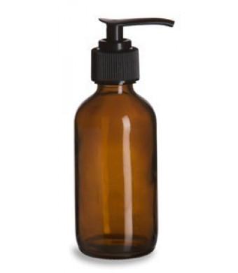 8 oz Amber Plastic Lotion / Soap Dispenser Bottle with Black Pump, 2 Pack