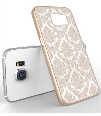 Galaxy S6 Case, LA GO GO(TM) Beauty Damask Lace Vintage Design Rubberized Ultra Slim Coating Print Hard Hybrid Case Cover Fit for Samsung Galaxy S6 G