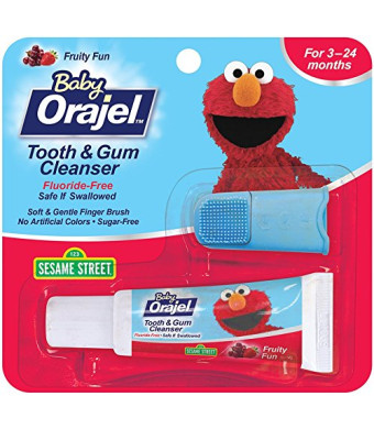 Orajel Baby Elmo Tooth and Gum Cleanser with Finger Brush, Fruity Fun, 0.7 Ounce