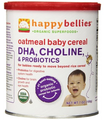 Happy Bellies Organic Baby Cereal with DHA, Choline and Probiotics, Oatmeal, 7-Ounce Canisters (Pack of 6)