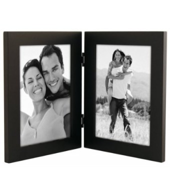 "Malden Linear Black Picture Frame holds two 5"" x 7""  pictures Vertically"