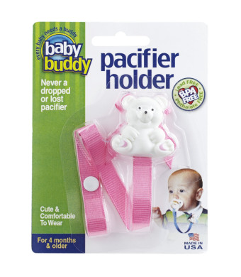 Baby Buddy Bear Pacifier Holder, Pink