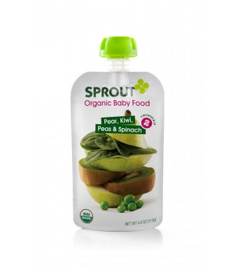 Sprout Intermediate Organic Baby Food, Pear, Kiwi, Peas and Spinach, 4.0-Ounce (Pack of 5)