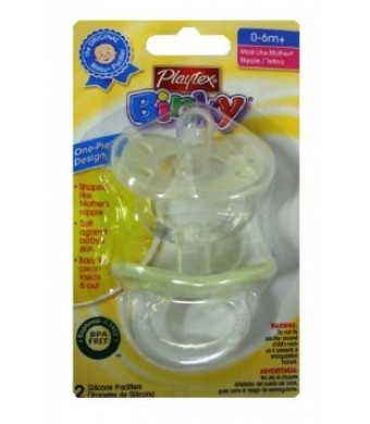 Playtex Binky Silicone Pacifiers, BPA Free, Most Like Mother, 0-6 Months And Up, 2 PACK, (Yellow And White)