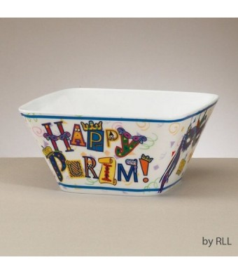 """ Happy Purim""  Melamine Bowl, 6""  Square"