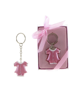 "Lunaura Baby Keepsake - Set of 12 ""Girl""  Baby Clothes with Crystals Key Chain Favors - Pink"