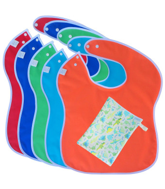 Toppy Toddler LARGE Waterproof Bibs (5 pack) with BONUS Snack Bag