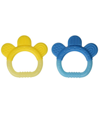 green sprouts 2 Count Sili Paw Teether, Aqua/Yellow