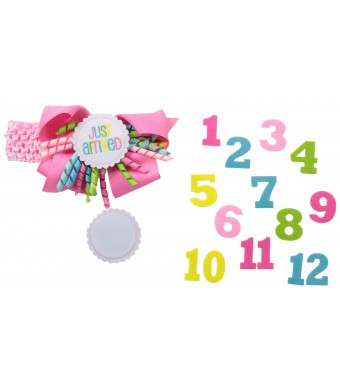 Mud Pie Baby-Girls Newborn Monthly Milestone Headband
