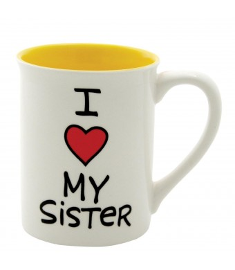 Our Name Is Mud 16-Ounce 'I Heart My Sister' Mug by Lorrie Veasey, 4.5-Inch