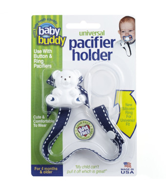 Baby Buddy Universal Pacifier Holder, Navy with White Stitch