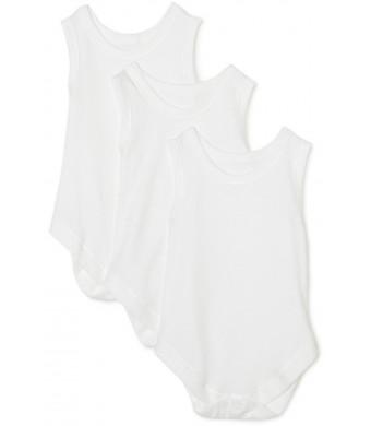 Spasilk 100% Cotton Sleeveless Lap Shoulder 3-Pack Bodysuit