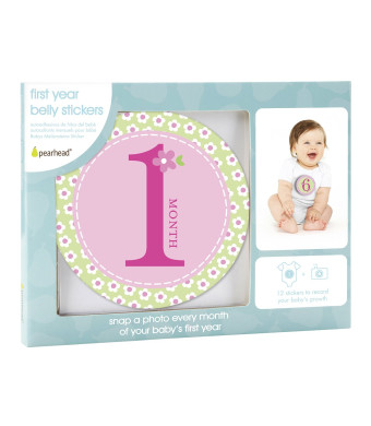 Pearhead Baby Milestone Stickers, Pink