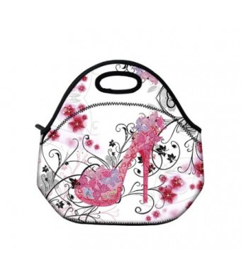 Pink Butterfly Shoe Insulated Neoprene Fashion Lunch Picnic Container Bag Box Tote Outdoor Travel Cooler Waterproof Soft Bag lunchbox Handbag Case Fo