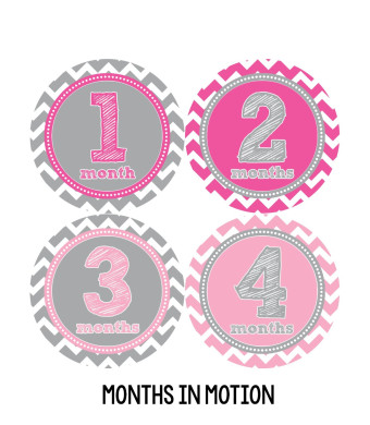 Months in Motion 281 Baby Month Stickers Baby Girl Pink Chevron Months 1-12 Monthly Age Sticker