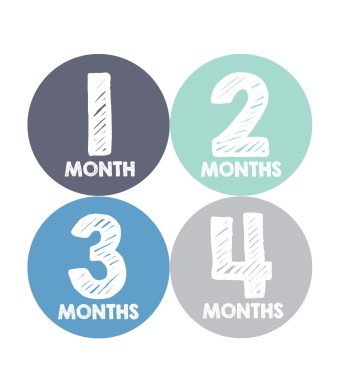 Months in Motion 015 Monthly Baby Stickers Baby Boy Months 1-12 Milestone Age
