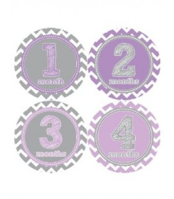 Months in Motion 024 Baby Month Stickers Baby Girl Purple Chevron Monthly Age