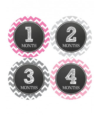 Months in Motion 069 Monthly Baby Stickers Baby Girl Month 1-12 Milestone Age