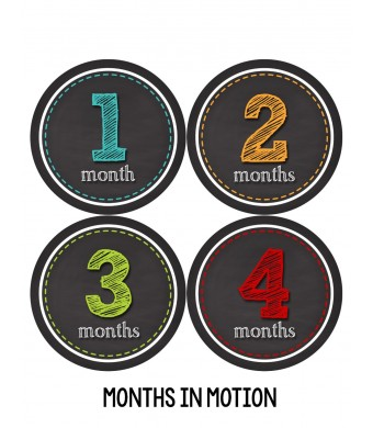 Months in Motion 313 Monthly Baby Stickers Baby Boy or Baby Girl Chalkboard