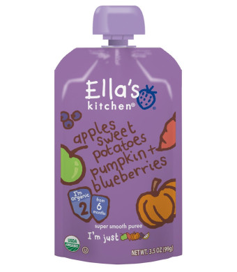 Ella's Kitchen Organic Stage 2, Apples Sweet Potatoes Pumpkin + Blueberries, 3.5 Ounce (Pack of 6) [Packaging May Vary]