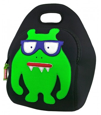 Dabbawalla Bags Monster Geek Kids' Insulated Washable and Eco-Friendly Lunch Bag Black/Lime Green