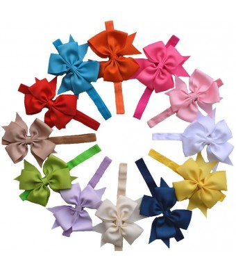 Qandsweet Baby Girl Headbands Flower Hair Accessories (Bows-12colors)