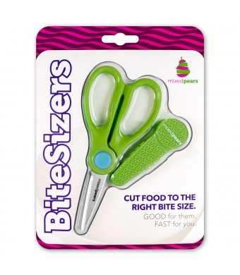 BiteSizers Portable Food Scissors (Green Seeds), Certified Food-safe, Stainless Steel